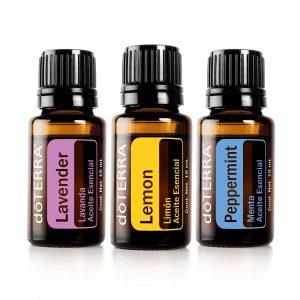 Kit de tres aceites esenciales menta, limón y lavanda